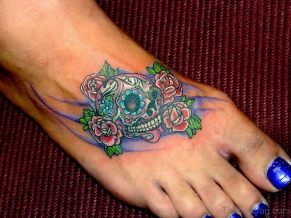 Awesome Skull Tattoo On Foot