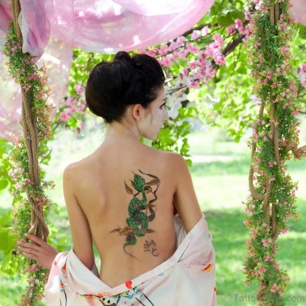 Awesome Snake Tattoo Design On Back