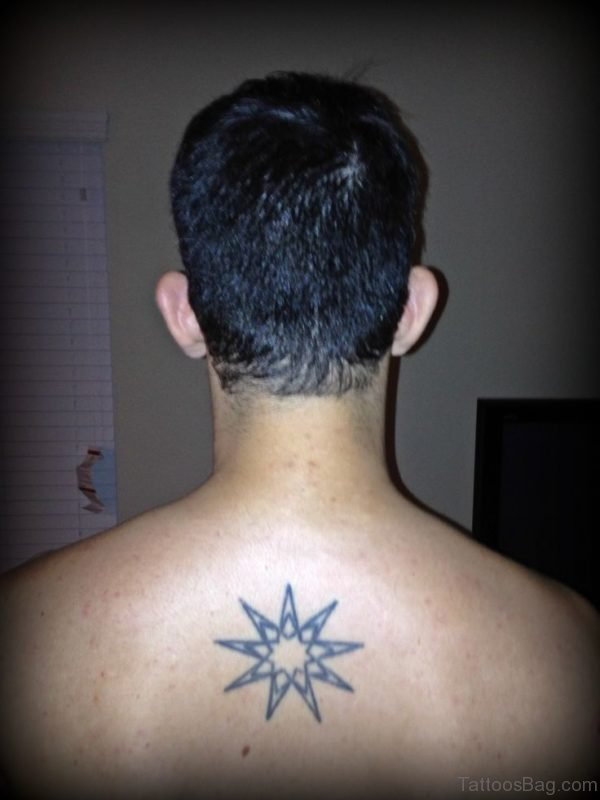 Awesome Star Tattoo Design On Upper Back