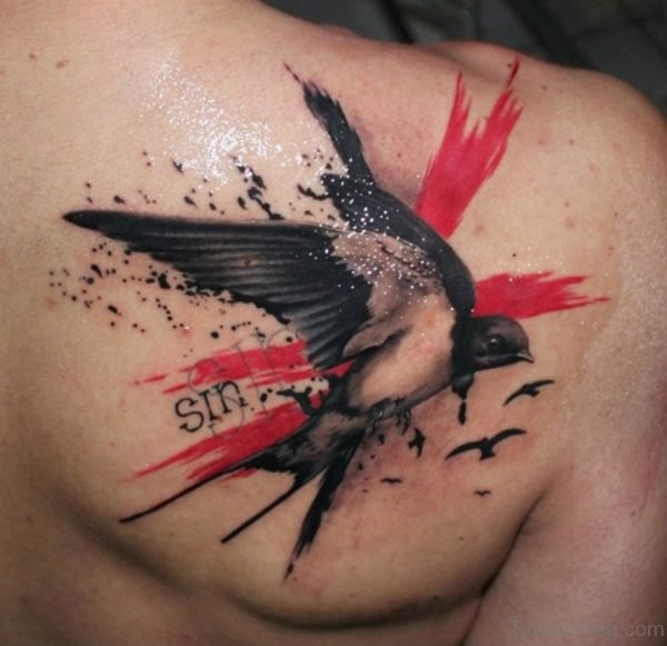 Awesome Swallow Tattoo On Back