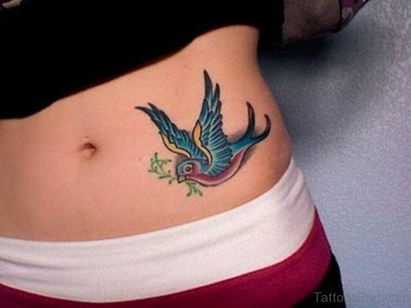 Awesome Swallow Tattoo On Waist