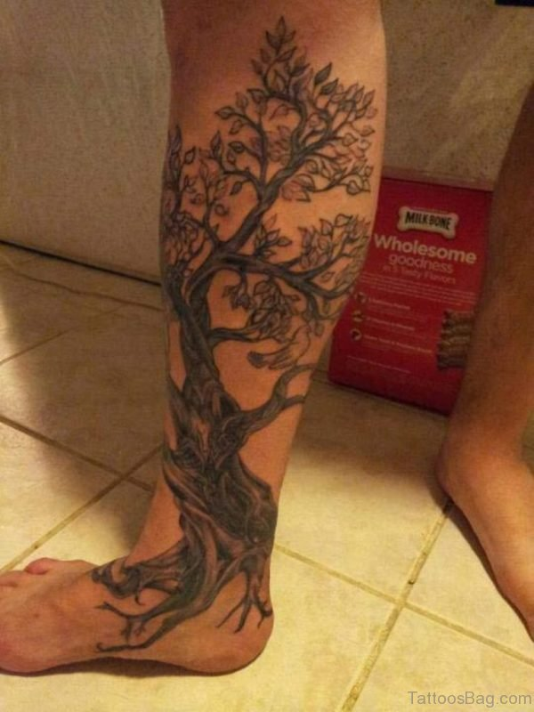 Awesome Tree Tattoo On Leg