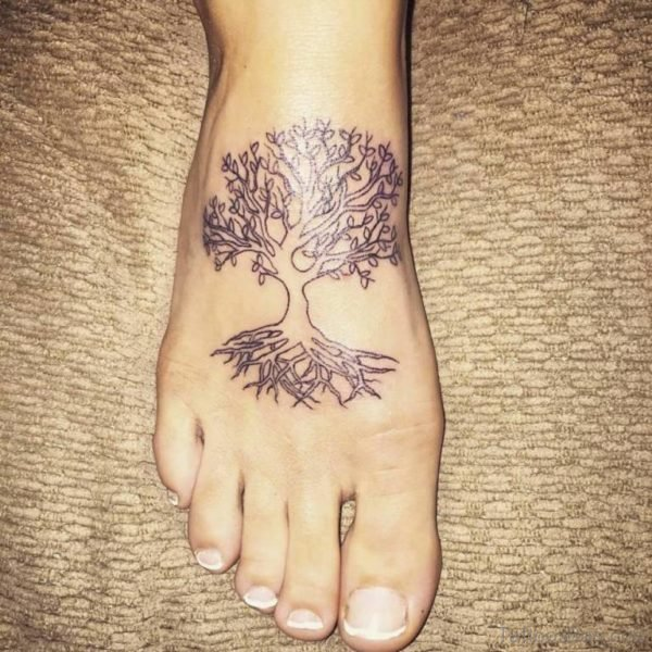 Awesome Tree Tattoo on Foot