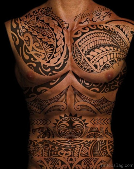 Graceful Tribal Tattoo On Chest