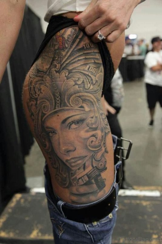 Aztec Girl Tattoo On Thigh