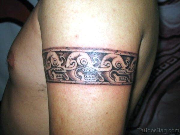 Aztec Skull Band Tattoo On Arm