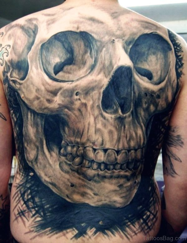 Aztec Skull Tattoo on Back
