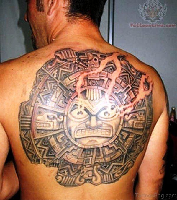 Aztec Sun Tattoo On Back
