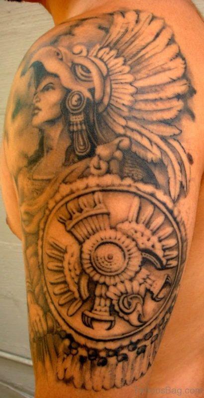 Aztec Tattoo Design On Shoulder