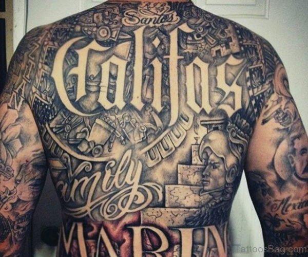 Aztec Tattoo On Full Back