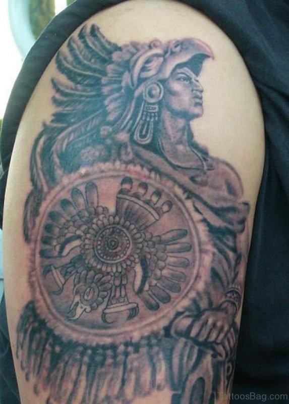 Aztec Tattoo On Shoulder