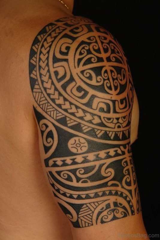 Aztec Tribal Tattoo On Shoulder