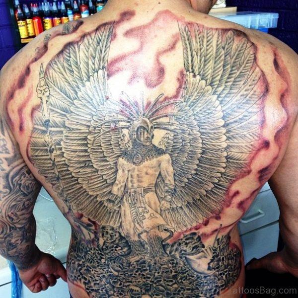 Aztec Warrior Tattoo On Back