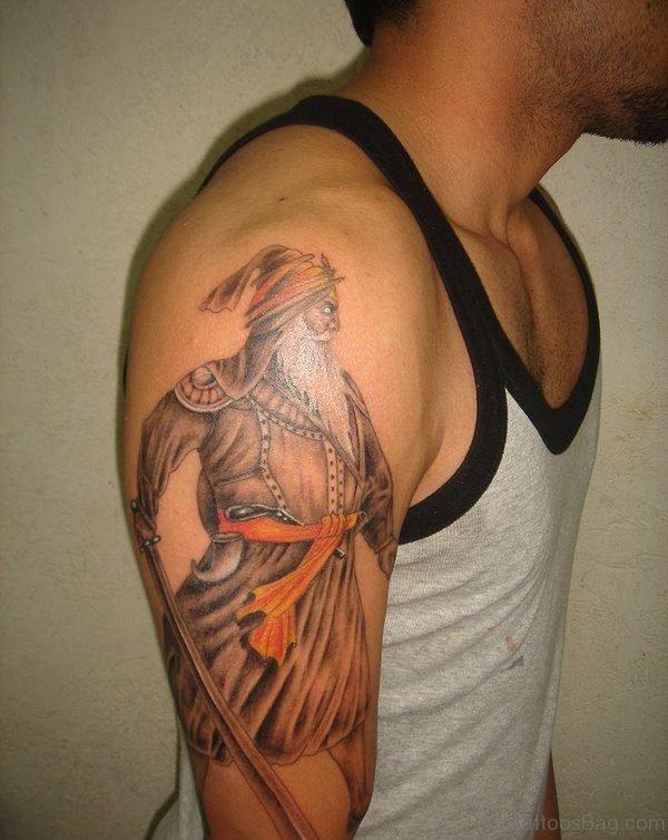 Baba Deep Singh Ji Tattoo On Shoulder