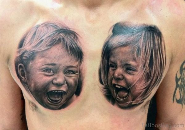 Babies Portrait Tattoo On Chest