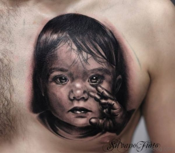 Baby Girl Portrait Tattoo On Chest
