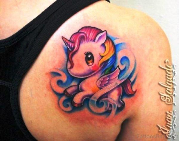 Baby Unicorn Tattoo On Back Shoulder