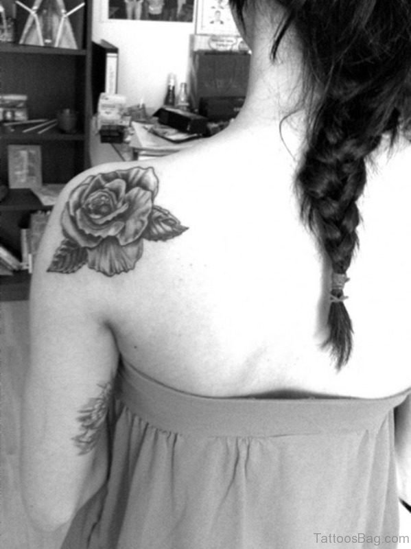 Back And White Shoulder Tattoo