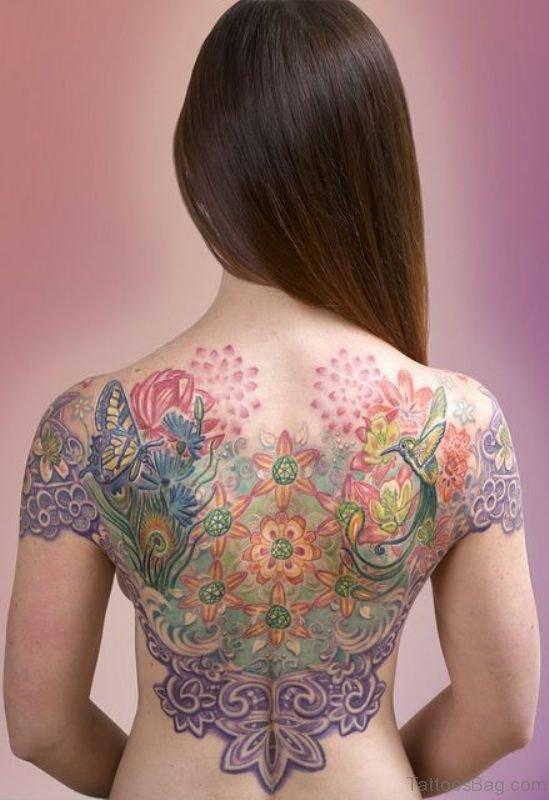 Back Colored Peacock Tattoo