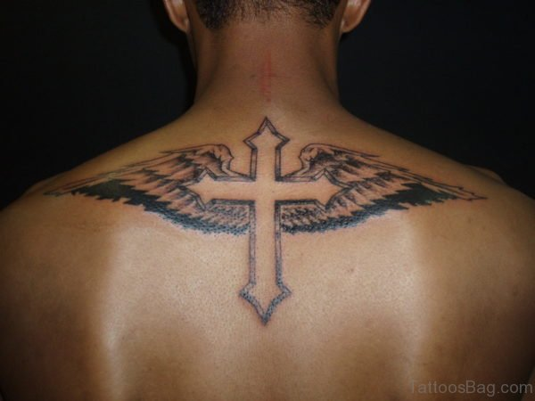 Back Cross Tattoo With Wings