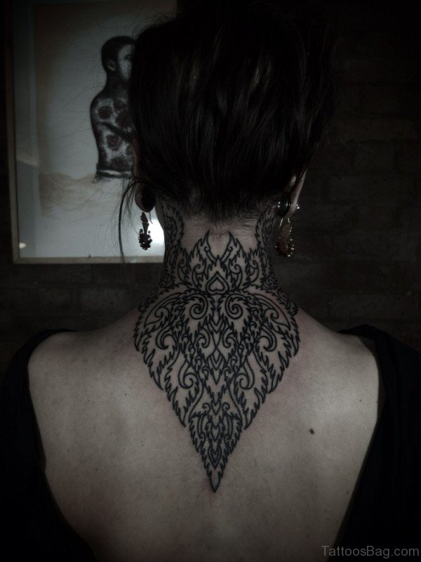Back Neck Mandala Tattoo