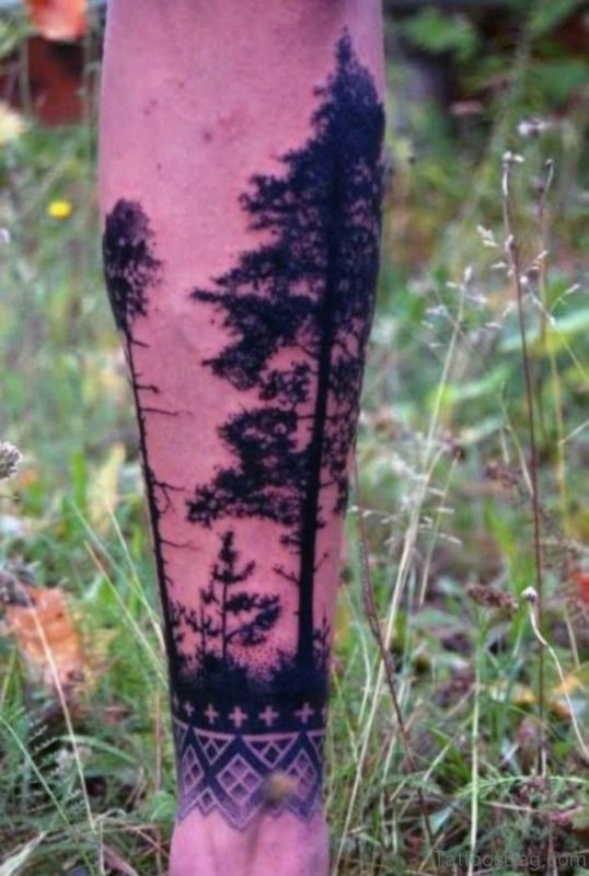 Back Of Leg Black Pine Tree Mens Tattoo