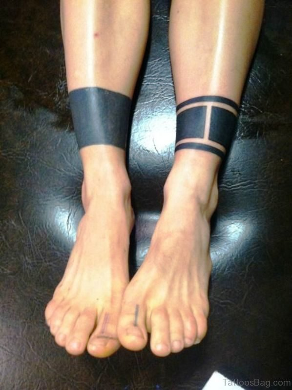 Band Tattoos On Both Legs
