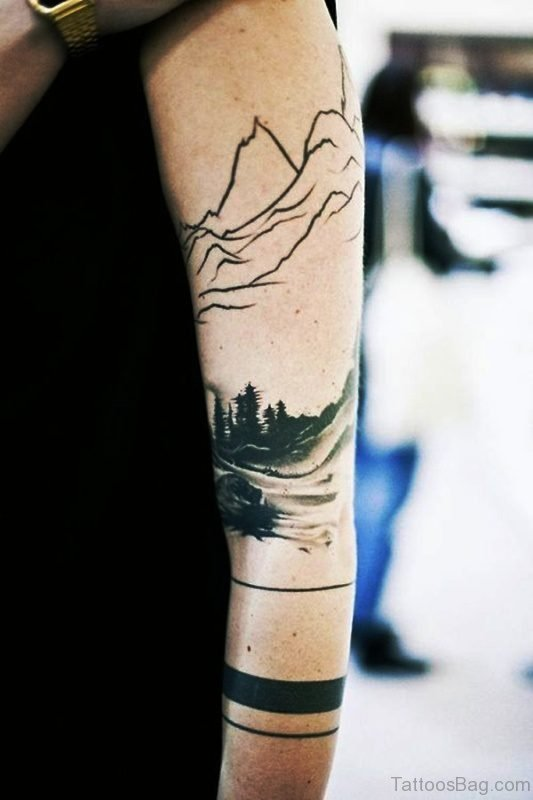 Band With Scenery Tattoo Design