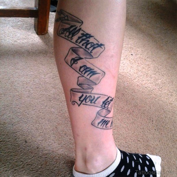 Banner With Quote Tattoo On Calf