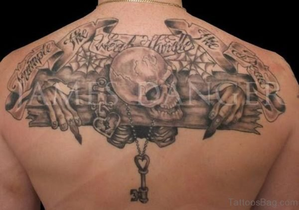 Banners And Skull Tattoo On Upper back