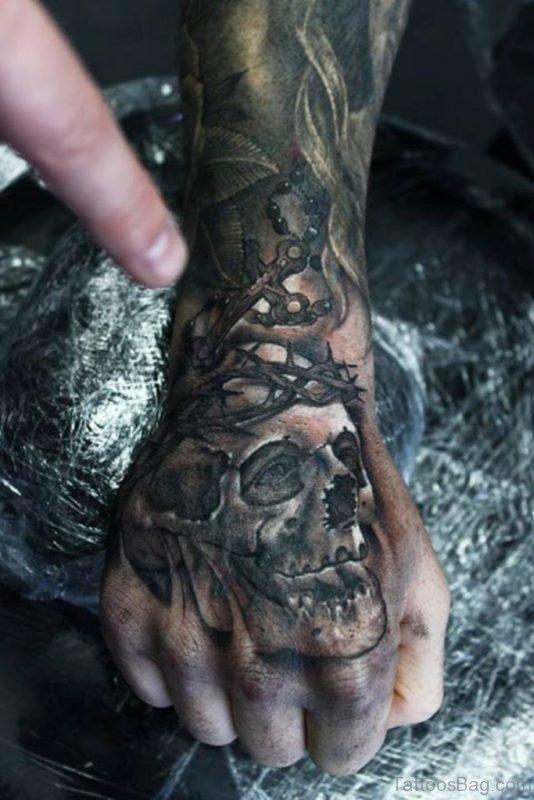 Barbed Death Skull Tattoo On Hand