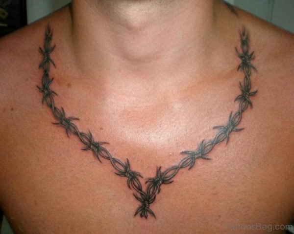 Barbed Wire Tattoo Design On Chest
