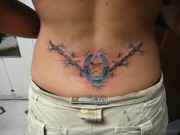 Barbed Wire Tattoo On Lower Back