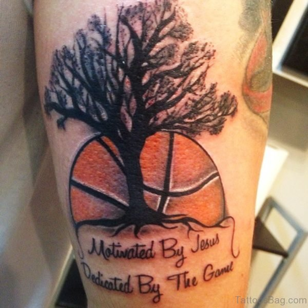 Basketball And Tree Tattoo On Shoulder