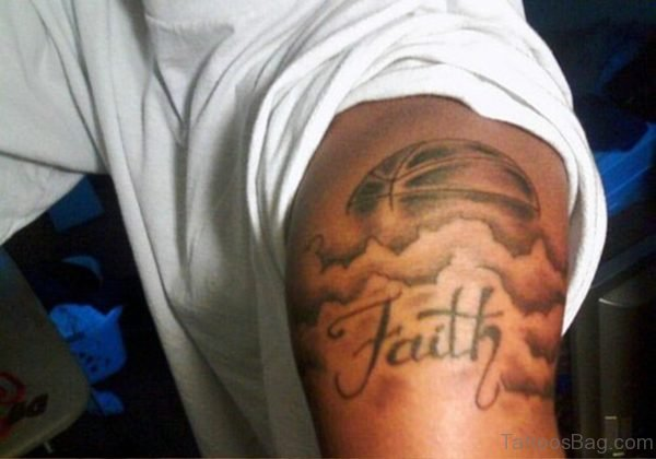 Basketball Faith Tattoo On Shoulder Design