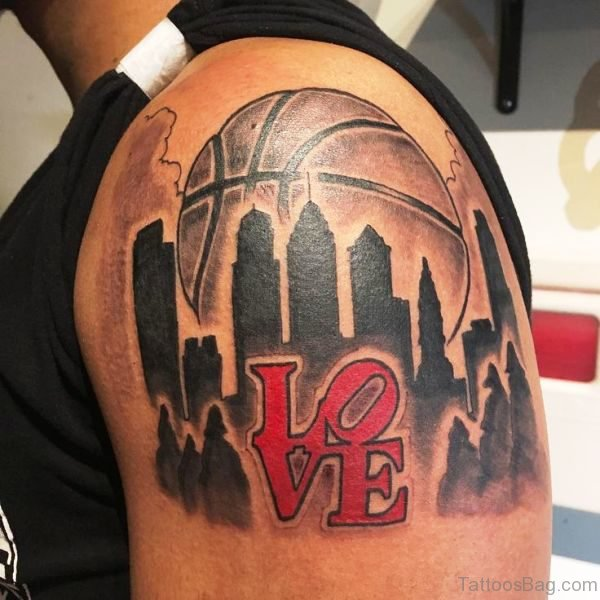 Basketball Love Tattoo On Shoulder