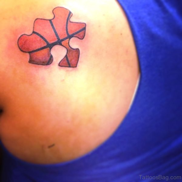Basketball Puzzle Tattoo On Shoulder