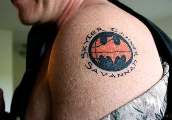 Basketball With Batman Logo Tattoo