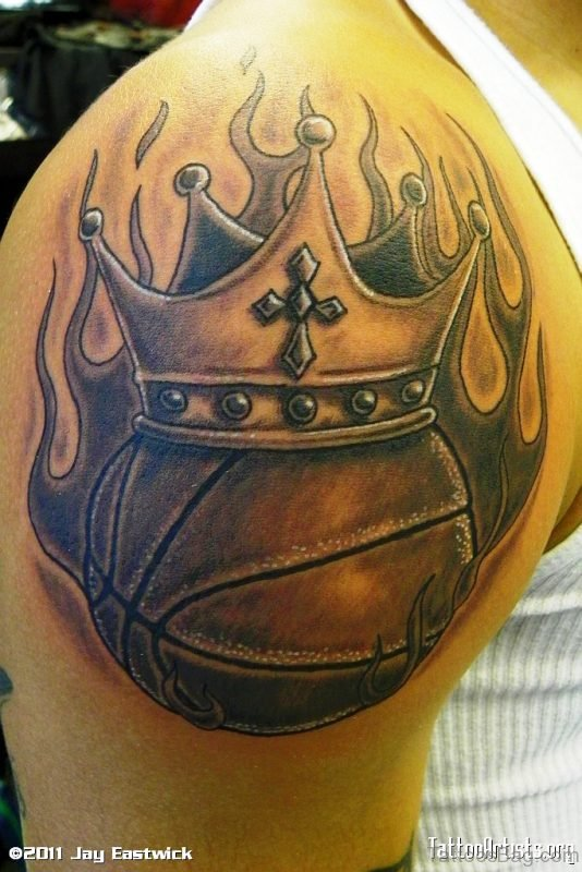 Basketball With Crown In Flame Tattoo
