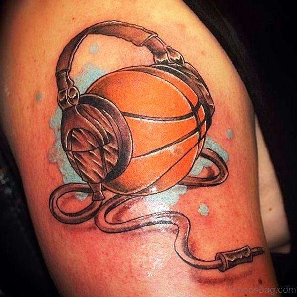 Basketball With Headphones On Shoulder