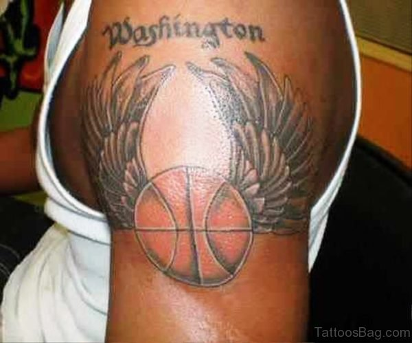 Basketball With Wings Tattoo On Shoulder