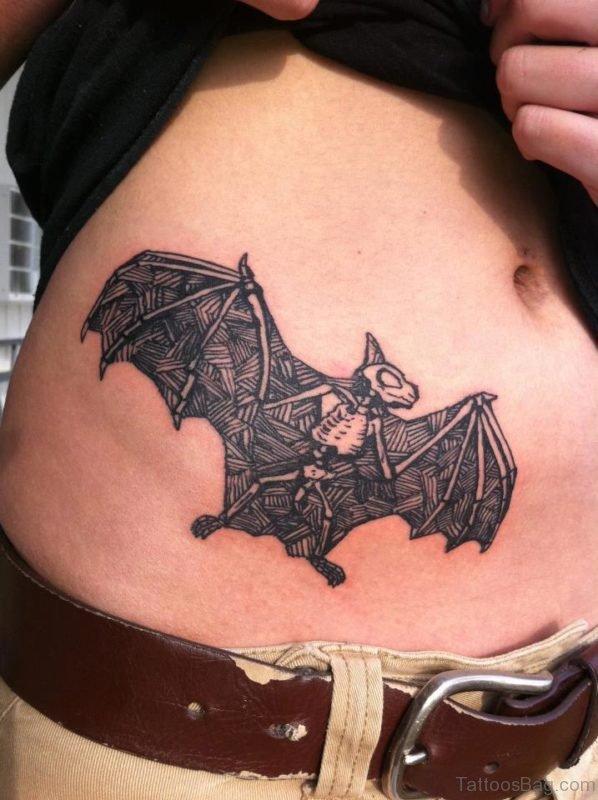 Bat Tattoo On Stomach