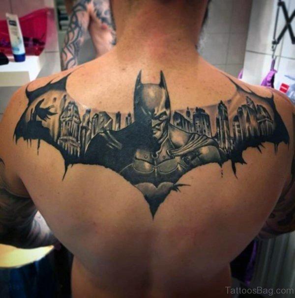 Batman Symbol Themed Mens Upper Back Tattoo