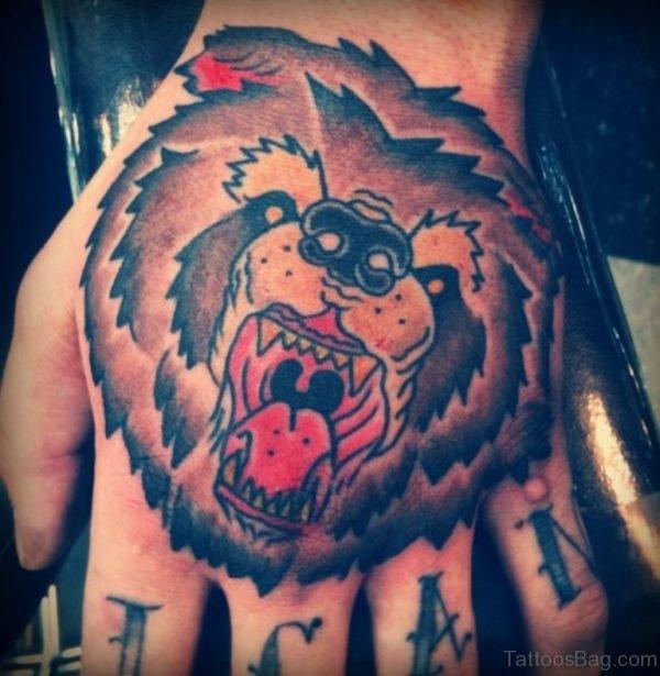 Bear Face Tattoo On Hand