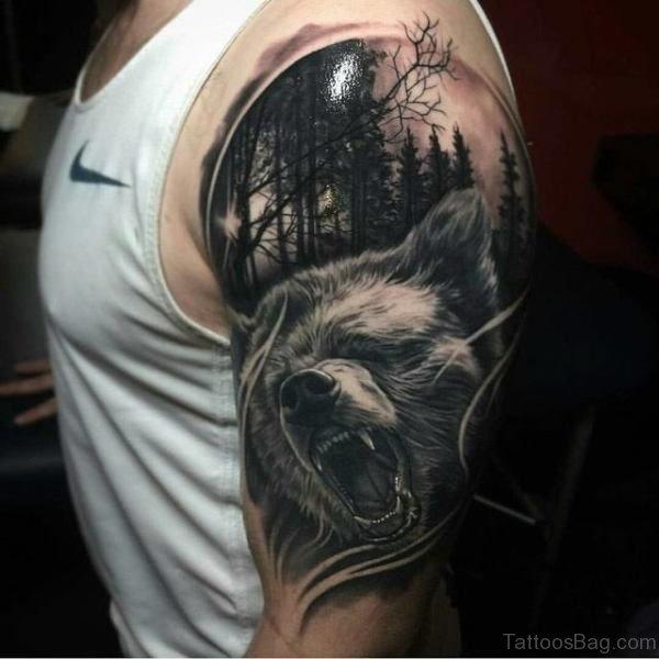 Bear Tattoo Design On Shoulder