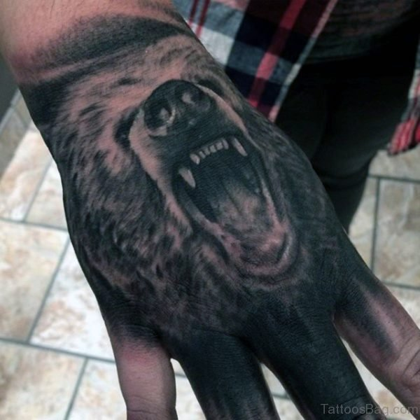 Bear Tattoo On Hand