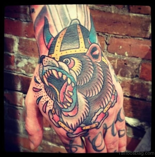 Bear With Open Mouth Traditional Tattoo On Hand