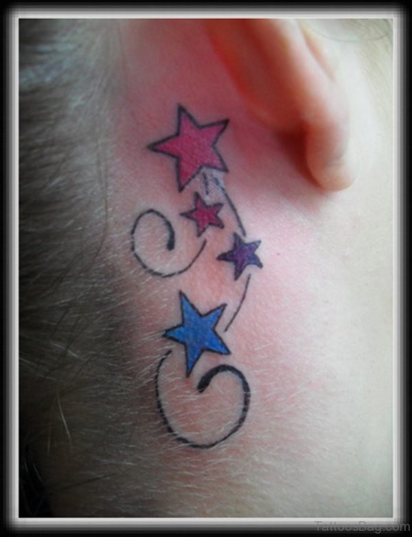 Beautiful Small Stars Neck Tattoo