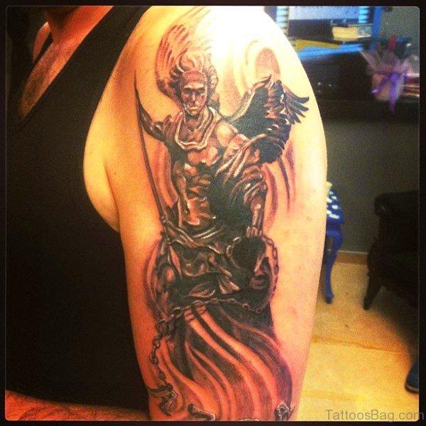 Beautiful Archangel Tattoo On Shoulder