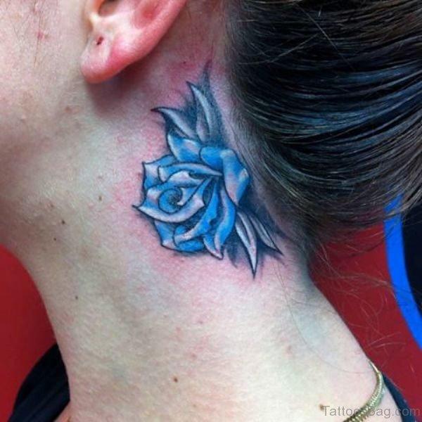 Beautiful Blue Rose Tattoo